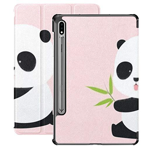 Funda Galaxy Tablet S7 Plus de 12,4 Pulgadas 2020 con Soporte para bolígrafo S, ilustración Vectorial Funda Protectora con Soporte Delgado de Panda Gigante de Dibujos Animados Lindo para Samsung