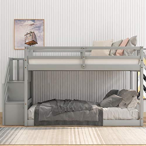 Harper & Bright Designs Low Bunk Beds with Stairs