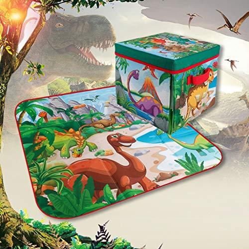 Webla Tapis de Jeu pour Enfants, 72X72cm Manette de Jeu de Jouets Mondiale Dinosaures pour Enfants Coffre à Jouets de Rangement Pliable