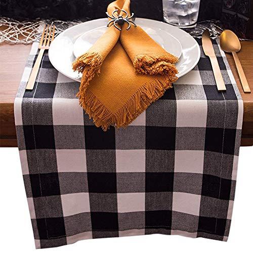 Mucjun Buffalo Check Table Runner Aus Baumwollleinen Fuer Familien Essen Oder Zusammenkuenfte, Partys Im Innenbereich Oder Im Freien Sowie (30X180 cm, 8-10 Personen), Schwarz Und Weiss