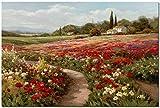 SSWD Claude Monet - Impresión sobre lienzo con campos de Claude Monet, paisaje impreso, cuadro para ...