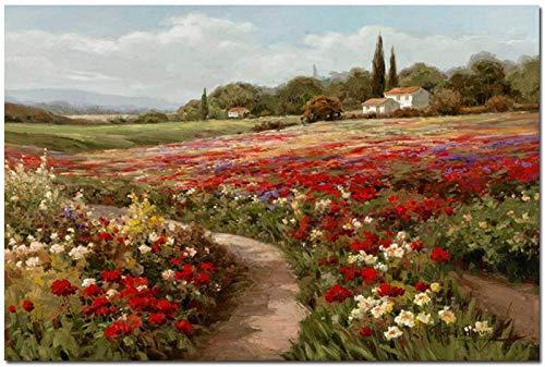 SSWD Impresión sobre lienzo de Claude Monet con campos de álamos, paisaje impreso, cuadro para pared, imagen para salón sin marco (70 x 90 cm)