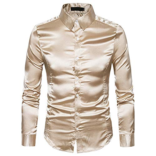Yowablo Shirt Herren Hochwertige Casual Fashion Hochglanz-Langarm-Revers ( XL,Khaki )