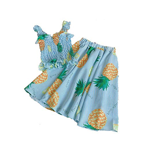 Toddler Girl Dresses Summer Two Piece Set Pineapple Print Ruffle Suspender Tops Elastic A-line Midi Skirt 2 pcs Clothes Outfits
