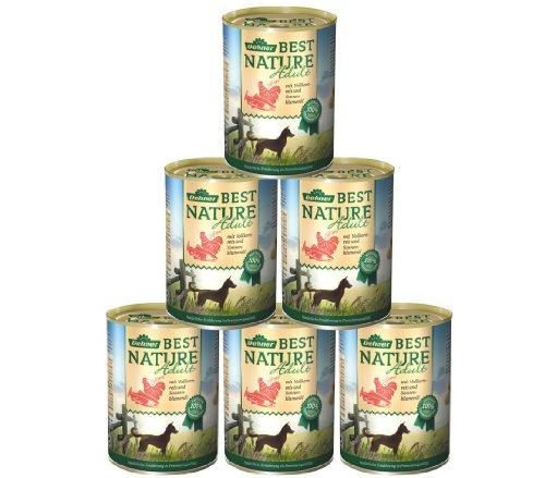 Dehner Best Nature Hundefutter Adult, Lachs und Geflügel mit Reis, 6 x 400 g (2.4 kg)