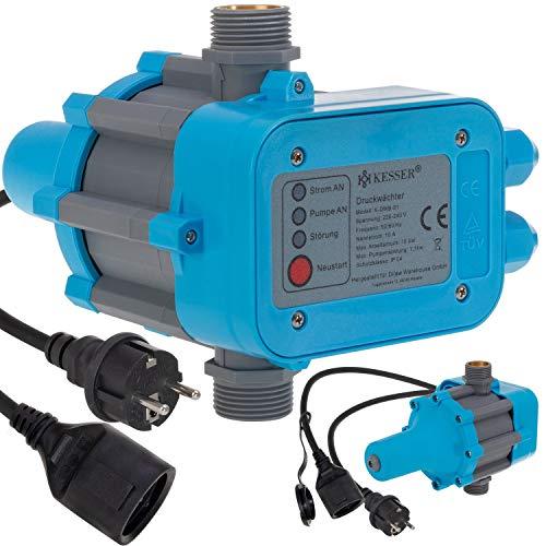 KESSER Druckwächter Druckschalter | 10bar | Pumpensteuerung | Hauswasserwerk | Gartenbewässerung | Mit Kabel | konstanten Wasserdruckl | Garten & Haus | automatisches Ein- und Ausschalten | Blau
