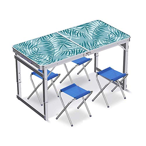 Daily Equipment Folding Table Camping Catering Heavy Duty Folding Trestle Table for BBQ Picnic Party Folding Table Simple Household Small Table Portable Folding Dining Table and Chairs C (Color : D