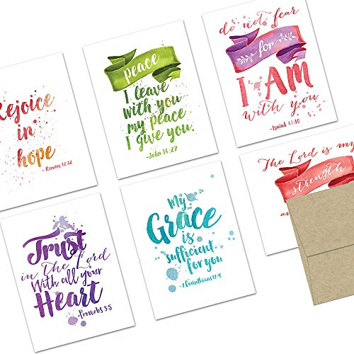 Note Card Cafe Religious Card with Kraft Envelopes | 72 Pack | Blank Inside, Glossy Finish | 6 Various Watercolor Scripture Designs | Bulk Set for Church, Friends, Appreciation