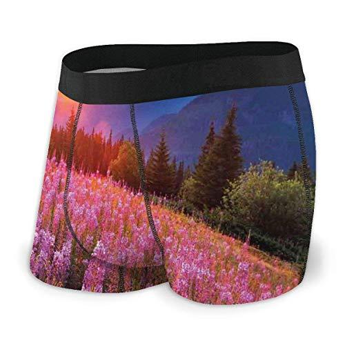 Calzoncillos bóxer para Hombre, idílico Prado de Primavera en Las montañas con Flores Paisaje Rural del Amanecer Tamaño XL