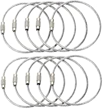 BlueCosto (10-Pack-Silver) Ultra Tough Stainless Steel String Wire Luggage Tag Loop Key Ring 600013