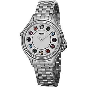 Fendi Crazy Carats Ladies White Dial Stainless Steel Diamond Swiss Made Gemstone Watch F107034000T05 image