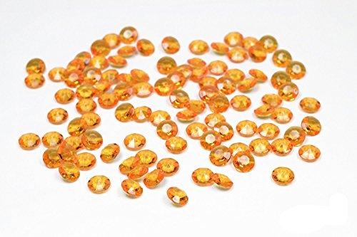 100 diamants en plastique pour decoration de table mariage ceremonie (orange 668)