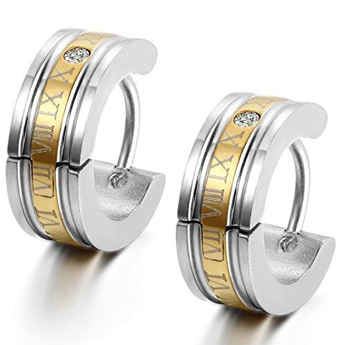 Flongo orecchini uomo in acciaio romatico lettering schema cerchio forma oro per natale San Valentino