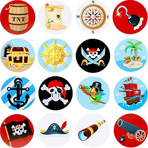 Hsei 500 Stücke Piraten Rolle Aufkleber Piraten Thema Aufkleber für Kinder Geburtstag Party Gefälligkeit, Wand, Outdoor, Schrottbuschung