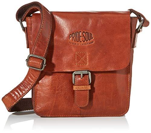 Pride & Soul unisex vuxna axelväska på min sida, bärväska läder, brun (brun), 6,5 x 18 x 21 cm