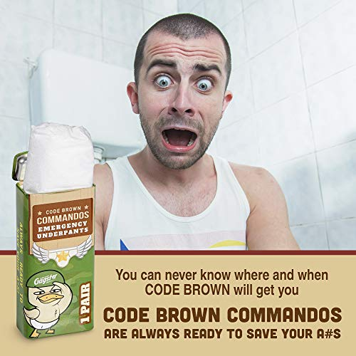 Code Brown Commandos Emergency Underpants in a Can 3 Pairs - Instant Undies in Compact Tin Container - Wh   ite Elephant Joke Gift - Funny Over The Hill Birthday Gag - Great Underwear for First Aid Kit
