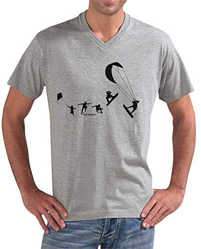 latostadora - Camiseta Kitesurf Evolution para Hombre Gris v