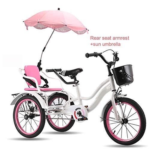 Outdoor Sports Kids 3-12 Years Old 3 Wheel Bikes, Trike 16 Inch Childrens Boys Girls Cruiser Bycicles, Three Wheel Bikes Front Basket, Pe'dal Bike With Rear Bucket Can Bri LATT LIV