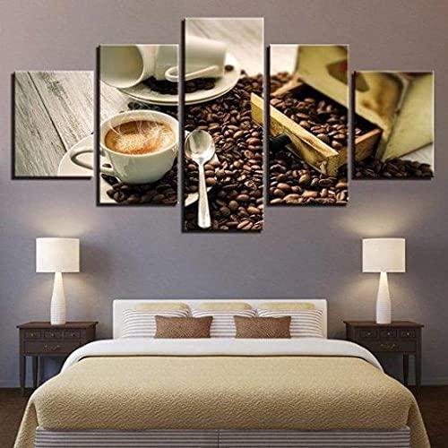 5 Piezas Cuadro En Lienzo Taza De Café con Granos Y Aroma De Café Cocina Y Restaurante Moderno Cuadros 5 Modernos Impresión De Imagen Artística Lienzo Decorativo para Tu Salón Dormitorio