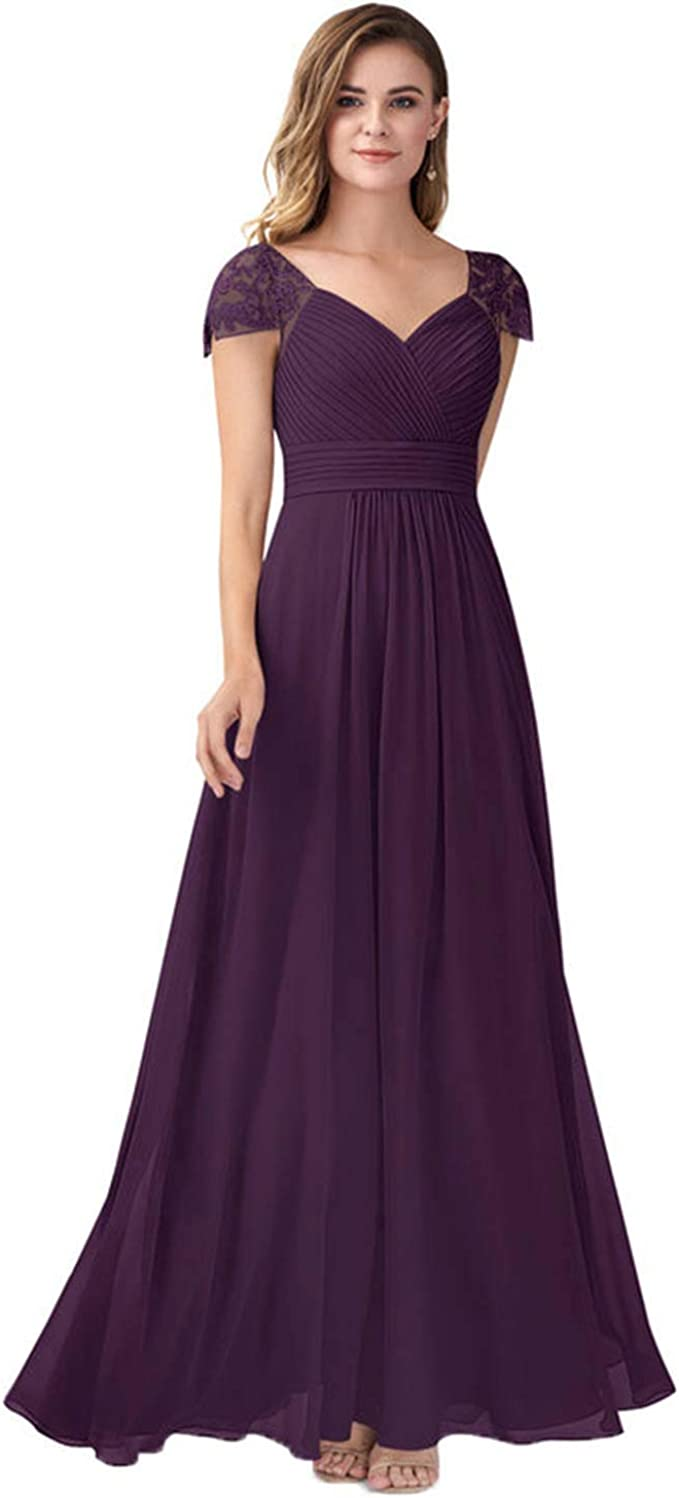 WHZZ Women's Lace Sale V Neck Prom Chiffon For Today's only Long Sleeves Cap Dress