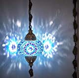 DEMMEX 2019 Swag Plug in Turkish Moroccan Mosaic Ceiling Hanging Light Lamp Chandelier Pendant Fixture Lantern, Hardwired OR Plug in with 15feet Cord & Chain (PlugIn2)