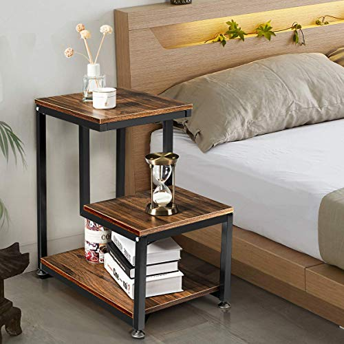 Tangkula Sofa End Table, 3-Tier Nightstand with Storage Shelf, Sturdy Metal Frame, Ladder-Shaped Chair Side Table, Rustic Tabletop Industrial Storage Shelf for Living Room or Bedroom (Brown)