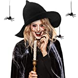 Sombrero de Bruja Arañas de Halloween de Mujer Gorro de Punto de Lana con 2 Arañas de Halloween Negras para Fiesta de Mascarada Accesorios de Disfraz