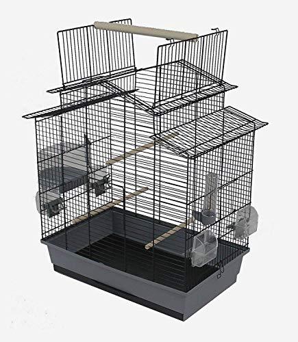 Ollesch Vogelkäfig Wellensittich Kanarien mit Freisitz & Zubebör schwarz grau