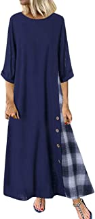 Going Out Long Dresses for Women Plaid Patchwork 3/4 Sleeves O-Neck Button High Low Hem Plus Size Dress