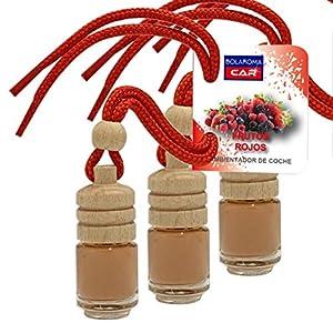 BOLAROMA Pack 3 ambientadores Coche Botella 4,5 ml Fragancia Frutos Rojos