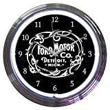壁掛け 時計 ネオンクロック「Ford Motor Co. Old Logo」ホワイトネオン Fomoco フォード オールドロゴ