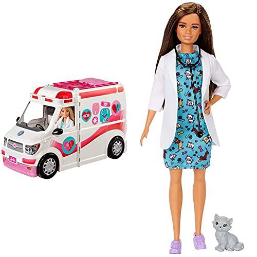 Barbie Ambulancia Hospital 2 En 1, Accesorios De Muñecas (Mattel Frm19) + Quiero Ser Muñeca Veterinaria Morena con Bata Médica, Y Gatito como Paciente (Mattel Gjl63)
