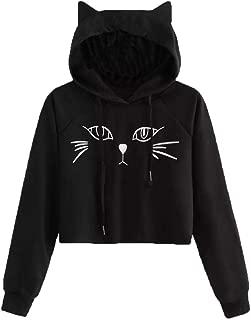 Women Long Sleeve Hoodie Cat Ear Sweatshirt Hooded Pullover Tops Blouse