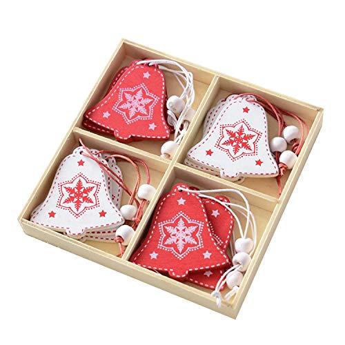Gosear Adornos para árboles de Navidad,12pcs Lindo árbol de Navidad de Madera Colgante de Navidad Estilo Campana...