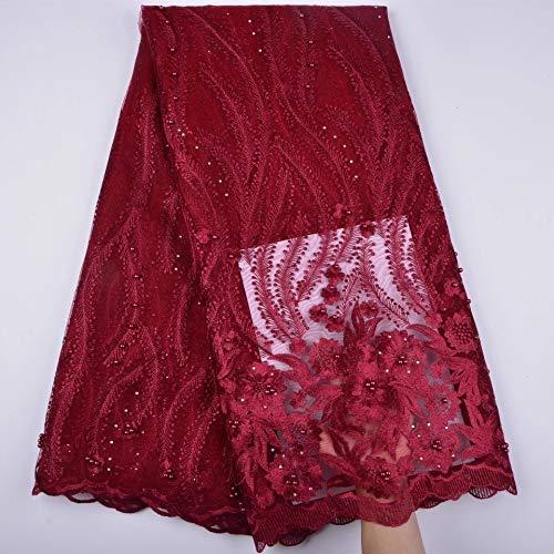 Tela de encaje africano de 3 yardas con cuentas francesas nigerianas de encaje de tela bordada para vestido de fiesta de boda con cordón Guipure K8 (vino)