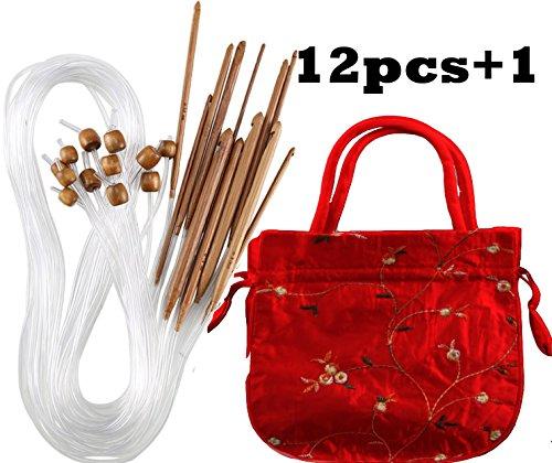 RosaDIY Häkelnadeln aus karbonisiertem Bambus, afghanische tunesische Häkelnadeln Set mit Kunststoffkabel Bambus Häkelnadeln Stricknadeln Set Garn Stricknadeln Set Schal Decke Kleidung 12 Größen