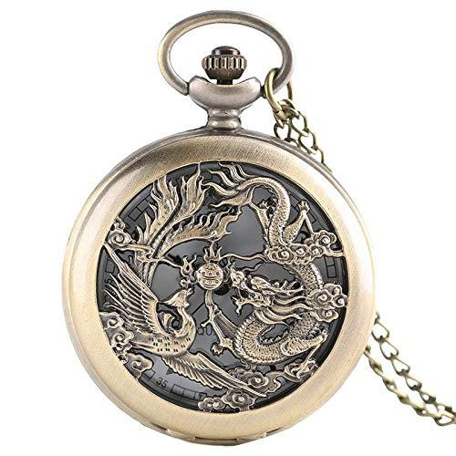 LYMUP Reloj de bolsillo, diseño retro de dragón y fénix con colgante de cadena para hombre y mujer, reloj moderno para regalo de niños, vapor (color bronce)