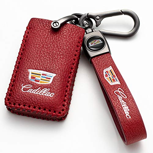 (Red) For Cadillac Key Fob Cover, Genuine Leather Key Fob Case Full Protection Case is Compatible With 2008-2011 Cadillac DTS STS,2009-2014 CTS SRX,2008-2014 Escalade,2013-2014 XTS,ATS Smart Key…