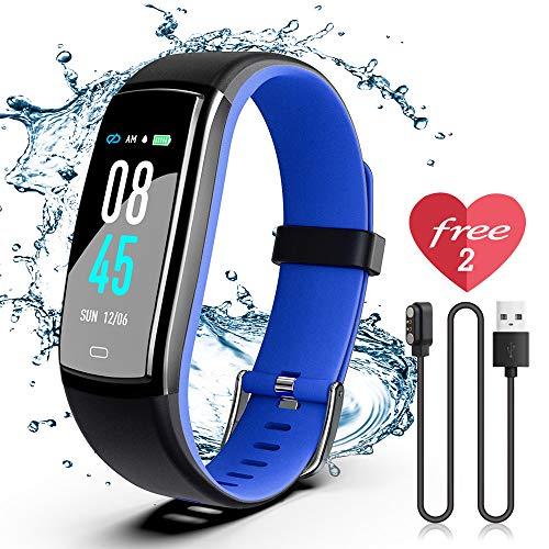 JAZIPO Fitness Armband mit Pulsmesser, Wasserdicht IP70 Fitness Tracker, Smartwatch GPS Aktivitätstracker, Vibrationsalarm Anruf/SMS, für Damen Männer