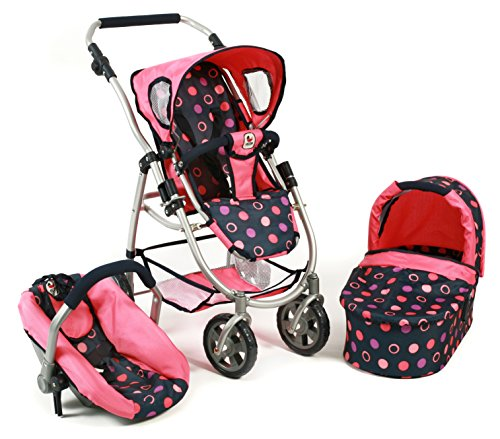Bayer Chic 2000 637 20 - Kombi-Puppenwagen 3-in-1 Emotion All In, Corallo, Navy/Koralle