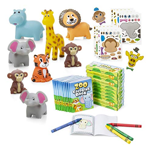 Favonir Safari Themed Party Favor 48 Pack - Mini Coloring Books With Crayons – Squeezable Jungle Animals - Stickers – Ideal For Birthday Party's, Goody Bag Stuffer, School Educational Reward Prizes