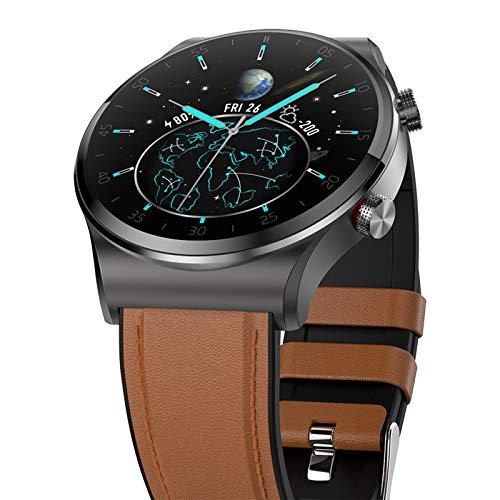 FMSBSC Reloj Inteligente para Mujer Y Hombre Smartwatch Android iOS con Llamada Bluetooth Monitor De Frecuencia Cardíaca Presión Arterial Oxígeno En Sangre Sueño, Fitness Tracker,Marrón