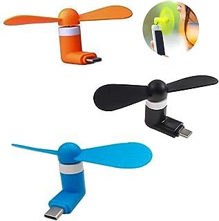 Nobrand - Ventilador tipo C con dos hojas portátil para teléfono móvil, ventilador mini exquisito, apto para smartphones con tipo C (3 unidades)