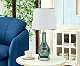 Kings Brand Ardoch Aqua Green / Blue Glass With White Fabric Shade Table Lamps, Set of 2