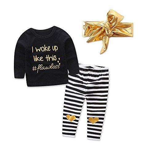 Covermason Conjunto de Bebé Niña, Carta Camiseta y Raya Impresión Pantalones y Dorado Diademas
