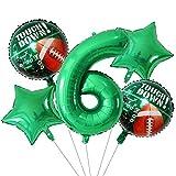Ballons de baudruche 5pcs 18inch Star Green Star Rugbyball Feuille de ballon d'hélium Set 30inch Numéro Globos Rugby Sports Rencontrez des garçons Décorations de fête d'anniversaire de garçons