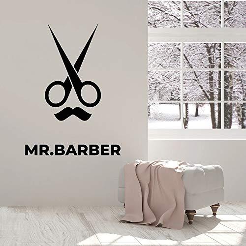 Barbero pared calcomanía tijeras peluquero profesional bigote vinilo ventana pegatina peluquería decoración de interiores mural