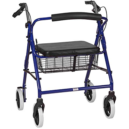 DMI Rollator Walker with Extra Wide Seat and Backrest Adjustable Handle Height Removable Storage Basket and a Durable Lightweight Frame That Easily Folds While Supporting up to 375 pounds Blue