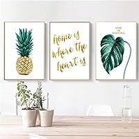 """キャンバスアート絵画パイナップルと緑の葉レターポスター印刷壁の写真リビングルームの家の装飾23.6"""" x31.4""""(60x80cm)X3フレームレス"""