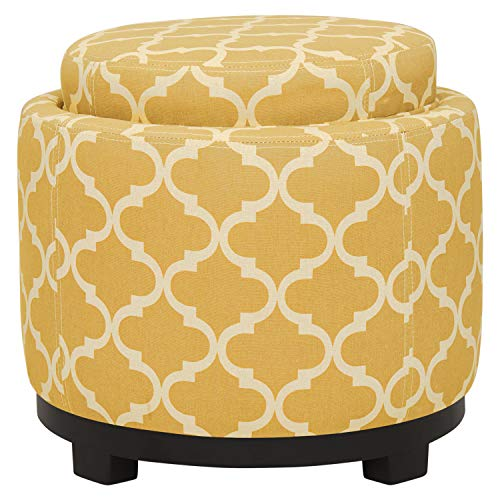 Amazon Brand  Ravenna Home Morrocan Storage Ottoman with Tray - 19 Inch, Yellow and Cream